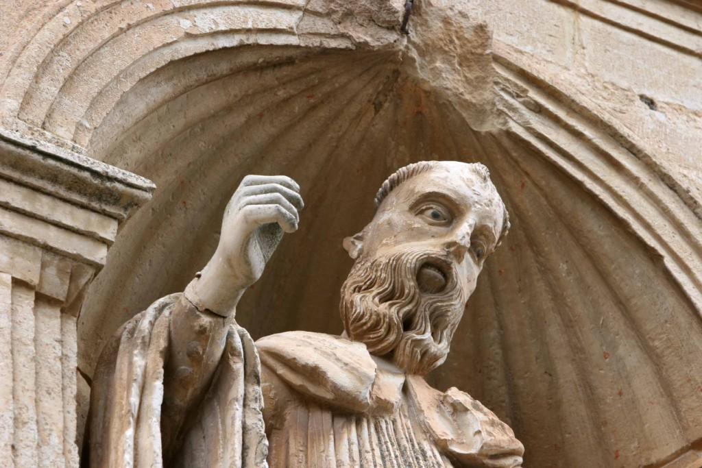 Imagen de Santo Domingo con la clásica 'mirada de pupilas negras' del arte románico. Monasterio de Santo Domingo de Silos 18